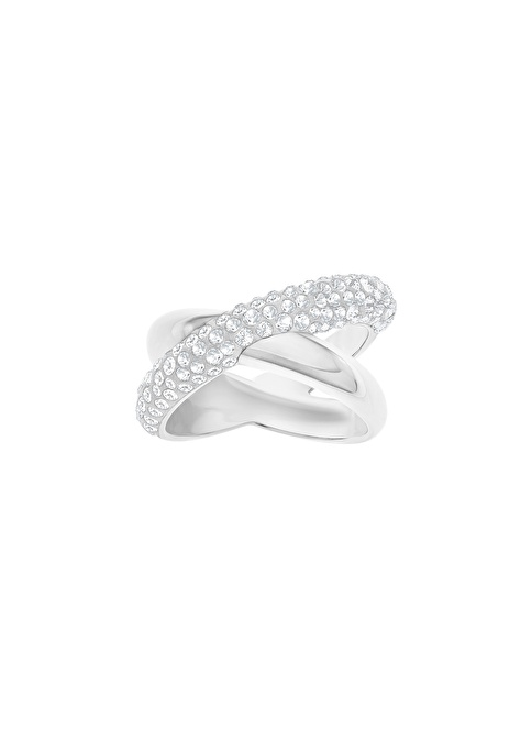 Swarovski Crystaldust Cross Ring, White, Palladium Plating Renkli